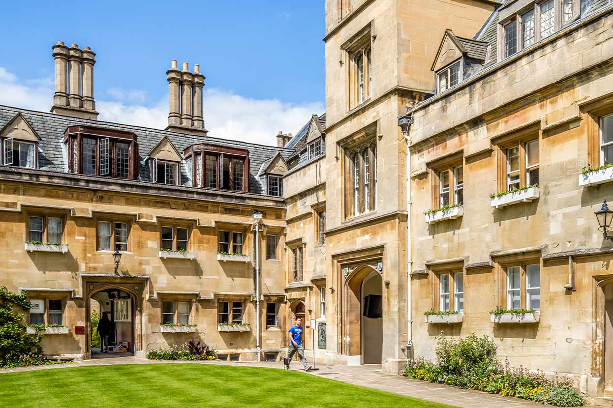 Pembroke College building with green lawn
